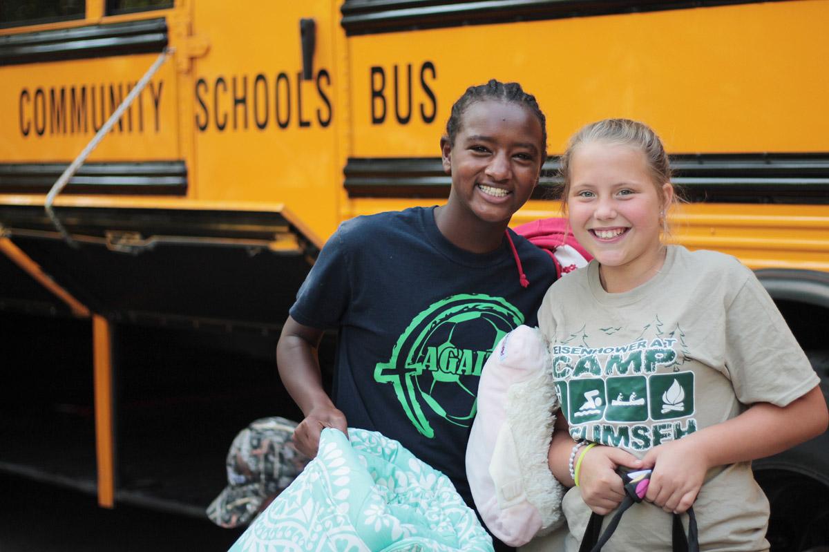 Eisenhower-Girls-in-Front-of-Bus
